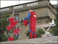 David Lambert dressed at Superman on the Fourth Plinth
