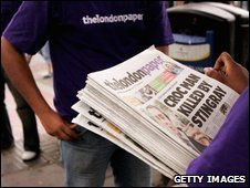 The London Paper being given out