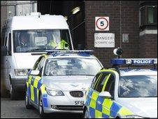 Megrahi left Greenock prison in a police convoy