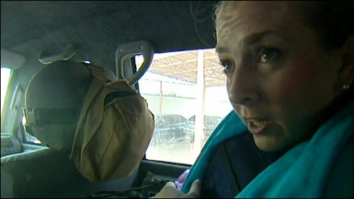 Caroline Wyatt in car after governor's convoy is attacked