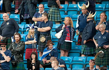 Dejected Scotland Fans After The   Defeat In Oslo