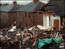 Debris in a street in Lockerbie, Scotland (22 December 1988)