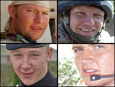 (Clockwise from top left) Sgt Simon Valentine, L/Cpl James Fullarton, Fusilier Louis Carter and Fusilier Simon Annis
