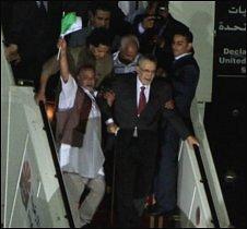 Abdelbaset Ali al-Megrahi arrives in Tripoli