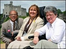 Members of Cardiff and Vale Coalition of Disabled People at Cardiff castle