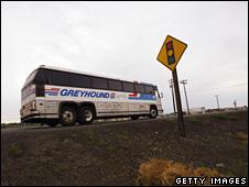 Greyhound bus on road