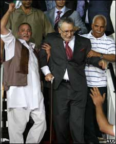 Megrahi is welcomed at an airport in Tripoli