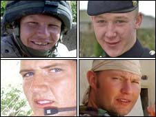 Clockwise from top left: L/Cpl James Fullarton, Fusilier Simon Annis, Sgt Simon Valentine and Fusilier Louis Carter