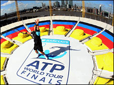 Andy Murray on top of the O2 Arena