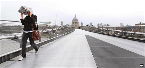 Woman on London's Millennium Bridge