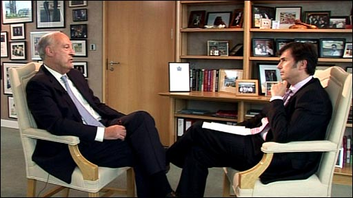 Leading questions interview: Lloyds Banking Group's outgoing chairman Sir Victor Blank interviewed by BBC business editor Robert Peston; image courtesy of BBC News