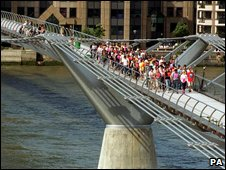 Employees of engineering firm test the bridge