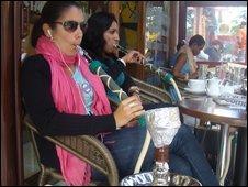 Young women smoking shisha