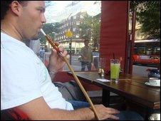 Man smoking shisha in Edgware Road