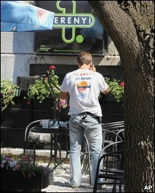 Plainclothes officer at Perenyi 1 Pub in Debrecen, Hungary, 21 Aug