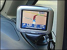 Sat nav unit in car