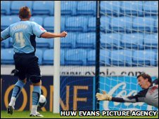Sammy Clingan missed a first-half penalty for Coventry