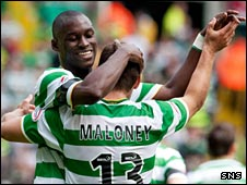 Marc-Antoine Fortune and Shaun Maloney celebrate