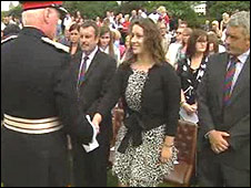 L/Cpl Christoper Harkett's widow and father collected the Elizabeth Cross at Cardiff Castle