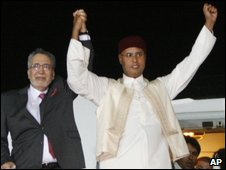 Abdelbaset al-Megrahi (left) with Saif al-Islam Gaddafi