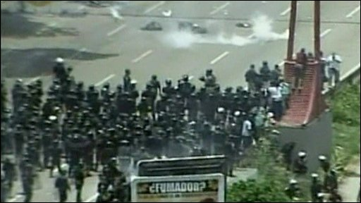 Riot police on the streets of Caracas