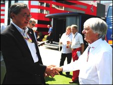 Hiroshi Oshima and Bernie Ecclestone