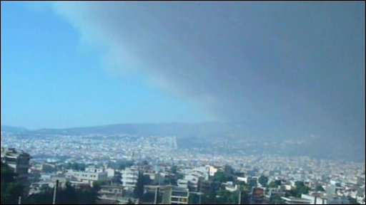Smoke across Athens. Photo: Zoltan Horvath