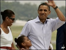 Obama family setting off to Martha's Vineyard