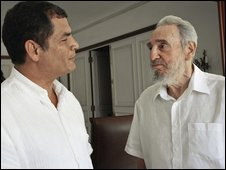 Fidel Castro, right, and Ecuador's President Rafael Correa meet in Havana, Cuba