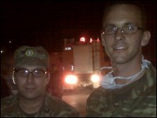 Dimitris Theaharis with another conscript at scene of Greek fires