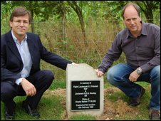 Mark Woolley (left) and Rob Patchett next to the memorial stone