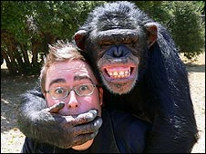 Danny Wallace and a chimp