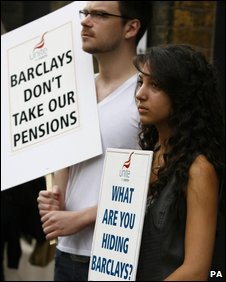 Workers from Barclays bank lobby the shareholders' AGM in August 2009