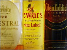 Scotch whisky bottles