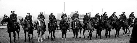 Mounted police lined up at Orgreave