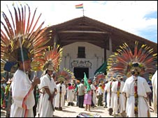 Local indigenous people outside a church in San Ignacio de Moxos