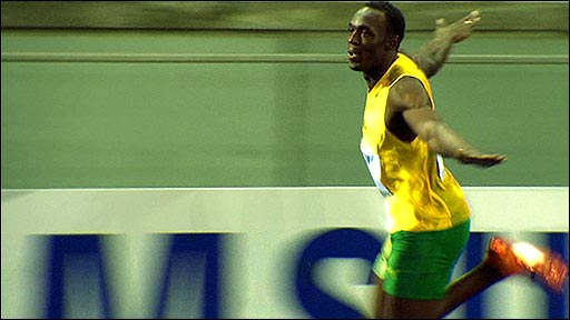 Usain Bolt celebrates his new 100m world record