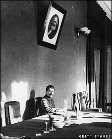 Archive photo of Joseph Stalin at work in 1932