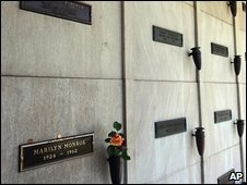 Marilyn Monroe's grave, with flowers, below Richard Poncher's.