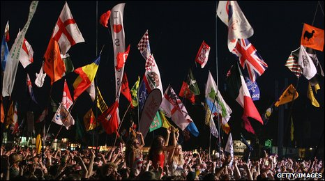 Flags during Bruce Springsteen's set at Glastonbury