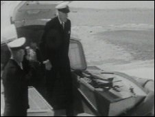 Lord Mountbatten steps off the first cross-Solent hovercraft service