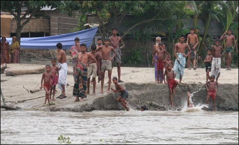River erosion in Kaijuri, Bangladesh