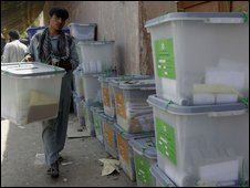 Election worker in Jalalabad