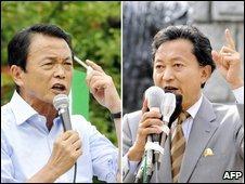 Prime Minister Taro Aso (L) and DPJ leader Yukio Hatoyama (L)