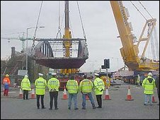 Slip Bridge being taken down