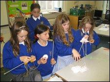 School pupils knitting