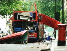 Bombed bus in London
