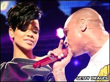 Rihanna and Chris Brown in December 2008
