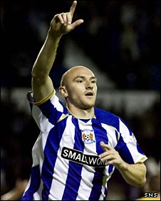 Conor Sammon celebrates scoring against Morton
