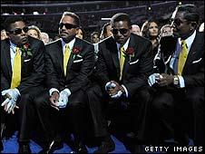 Tito, Marlon, Jackie and Jermaine Jackson at Michael Jackson's memorial service